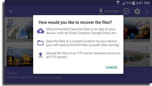 recuperar vídeos apagados do Android Disk Digger Restaure e Salve