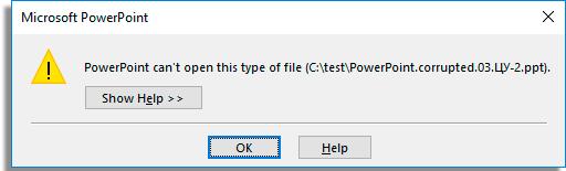 arquivo powerpoint danificado erro