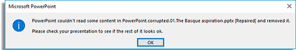 arquivo powerpoint danificado segundoerro