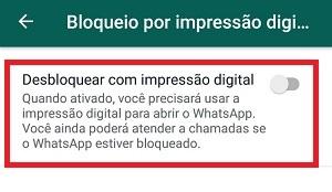 bloquear o whatsapp com impressão digital opção