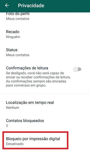 bloquear o whatsapp com impressão digital privacidade