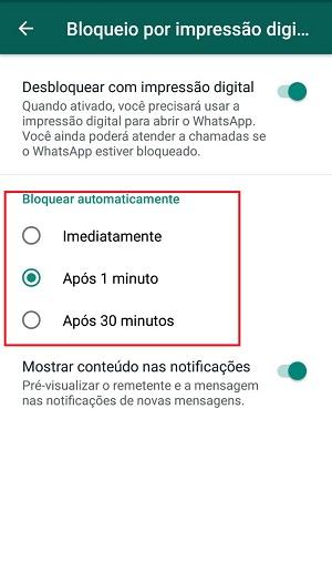 bloquear o whatsapp com impressão digital tempo