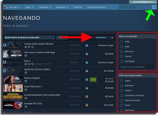 Steam Sale Busca com Filtros