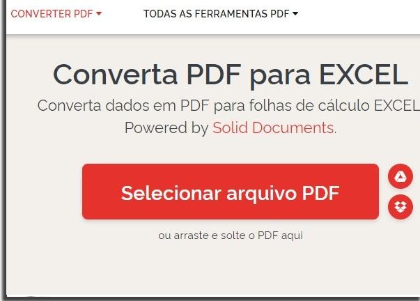 transformar PDF em excel IlovePDF