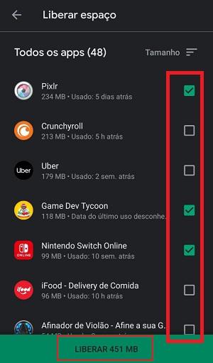 apagar apps no android