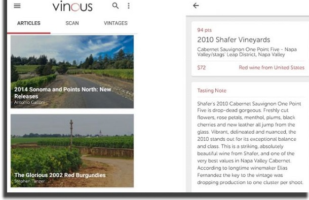 aplicativos de vinho vinous