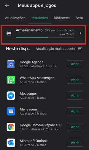 apps instalados no android