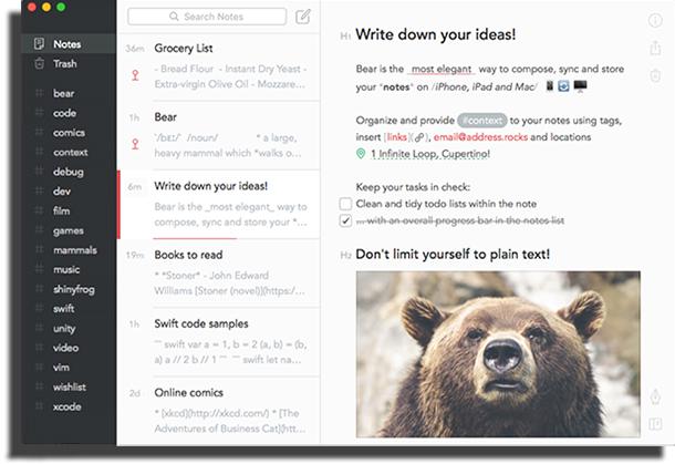 Interface do Bear
