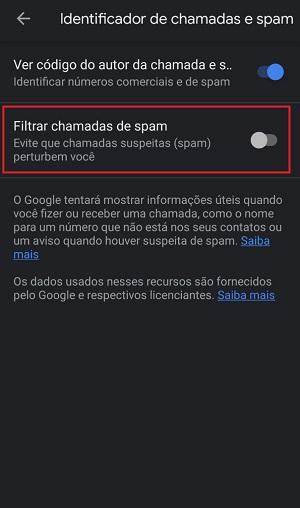 filtrar chamadas de spam