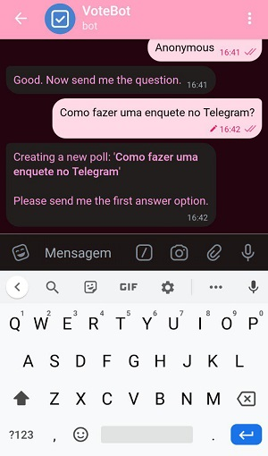 opções de enquete no telegram