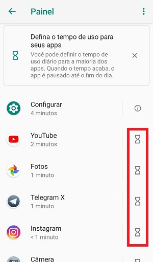 painel de apps no android