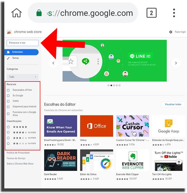 Página de extensões do Google Chrome