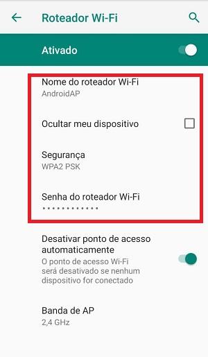 roteador android opções