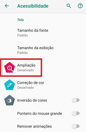 ampliação no android