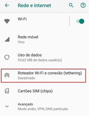 smartphone como roteador de wi-fi