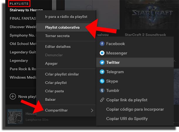 Compartilhar playlists
