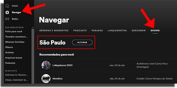Encontre shows no Spotify