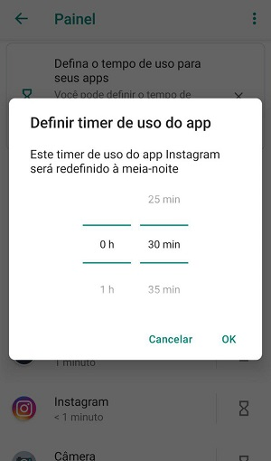 timer de uso de apps android