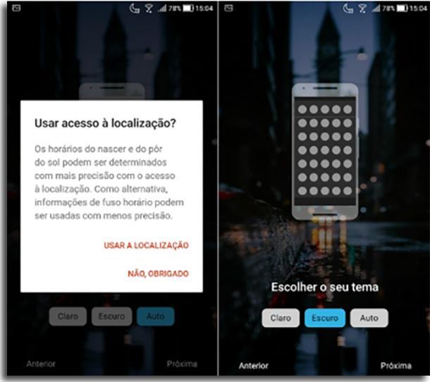 Nova Launcher usar modo noturno em androids antigos