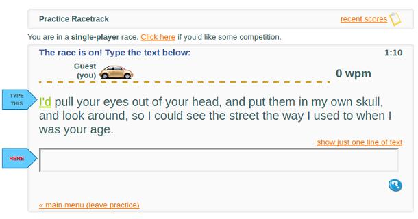aprender digitação type racer