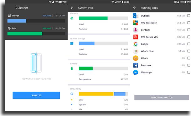 CCleaner aplicativos para liberar memória no Android