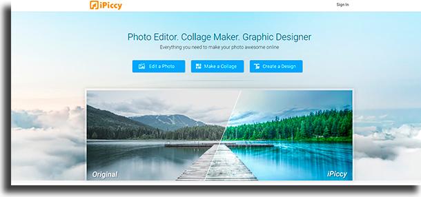 ipiccy ferramentas para edição e montagem de fotos