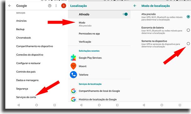 outras opções evitar ser localizado por apps do google