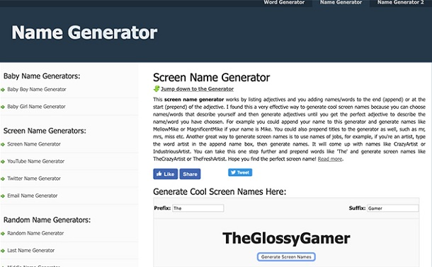 Name Generator screen name generators