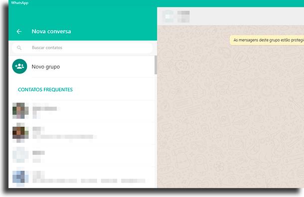 nova conversa atalhos para o WhastApp Web