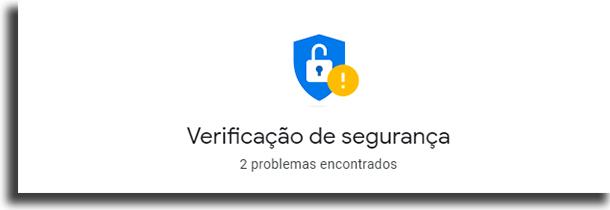 Verificação de Segurança checkup de segurança na conta google