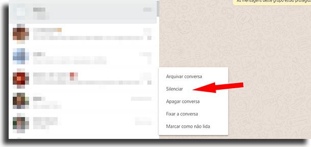 silenciar atalhos para o WhastApp Web
