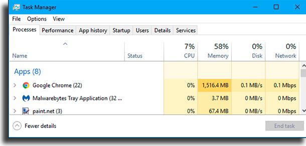 gerenciador de tarefas programas para liberar memória no Windows