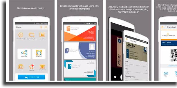 L-Card Pro aplicativos para criar cartões de visitas