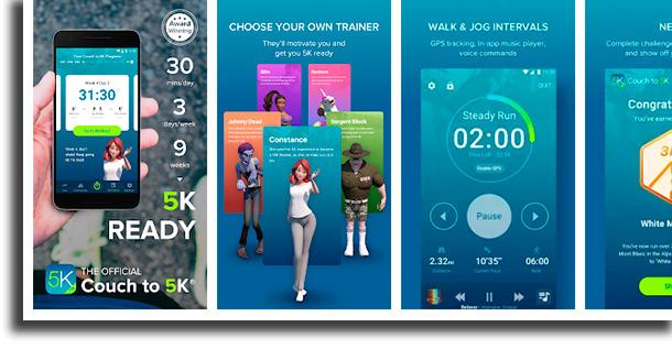 Couch to 5K aplicativos para medir a distância percorrida