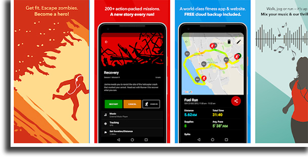 Zombies, Run! aplicativos para medir a distância percorrida