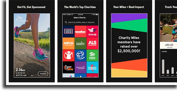 Charity Miles aplicativos para medir a distância percorrida
