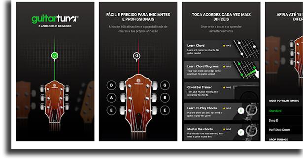 screenshot de um dos aplicativos de afinar o violão