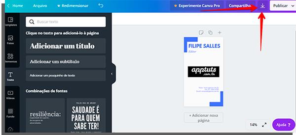 tela de edição do canva com seta apontando onde fica o botão de download