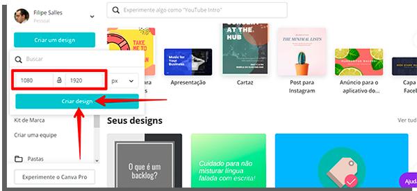 tela inicial do site canva, nos primeiros estágios da criação de um design