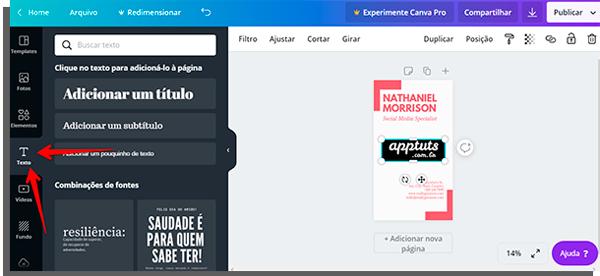 tela de edição do canva com seta apontando onde fica a seção para inserir caixas de texto
