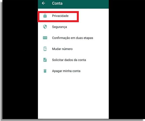 configuracoes de privacidade no menu conta