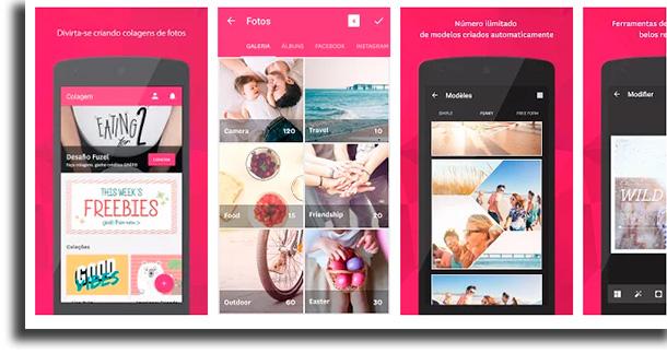 Fuzel Collage aplicativos para fazer colagens de fotos