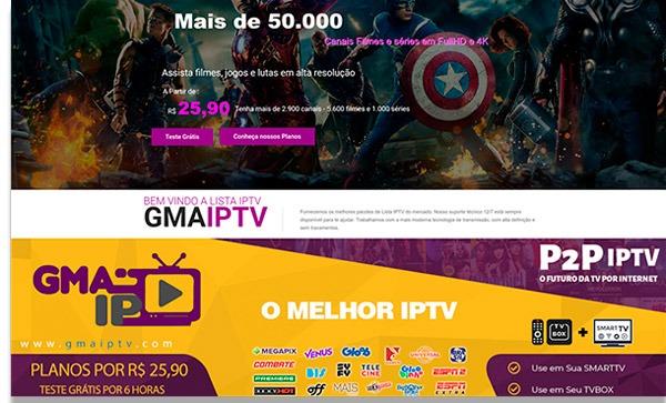 tela de inicio do site gma tv
