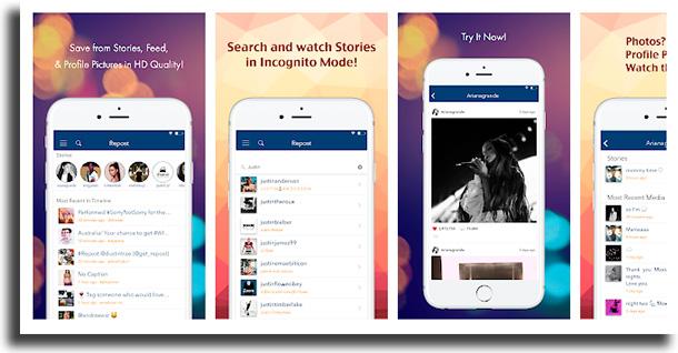 Repost story for instagram apps para baixar vídeos e stories