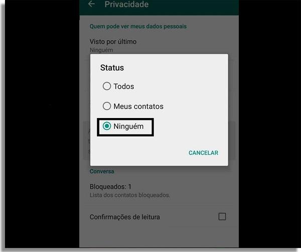 esconder status