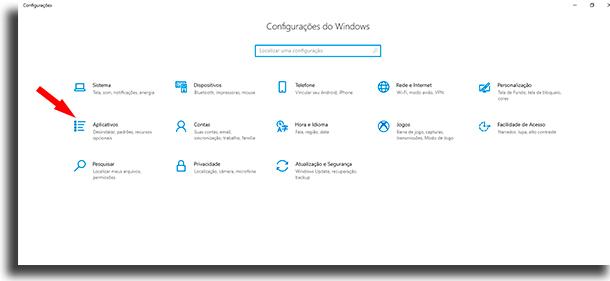 configurações windows