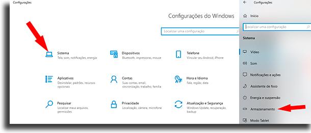Configurações sistema e armazenamento mover programas para outro HD
