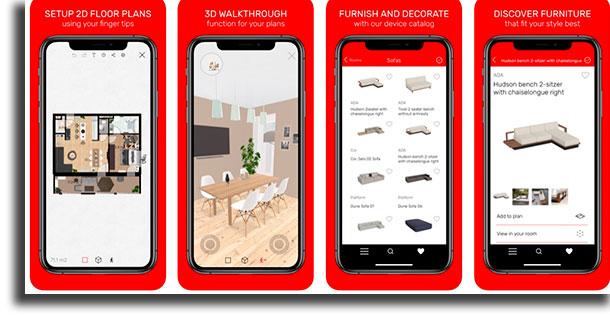 Roomle aplicativos de arquitetura