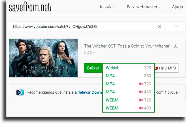 SaveFrom.net como baixar música grátis no youtube