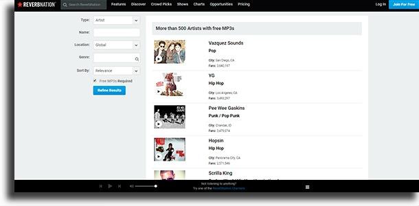 ReverbNation melhores sites para baixar músicas